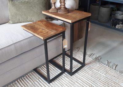 Bijzettafel hout/metaal
